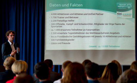Sven Albrecht, Vorsitzender des Organisationskomitees und SOD-Bundesgeschäftsführer, stellte die Special Olympics Kiel 2018 vor. (Foto: SOD/Sascha Klahn)
