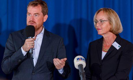 Kiels Oberbürgermeister Dr. Ulf Kämpfer sprach über die Bedeutung der Special Olympics Kiel 2018 für die Landeshauptstadt. (Foto: SOD/Sascha Klahn)