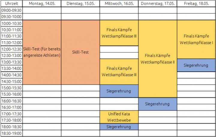Zeitplan Judo Kiel 2018