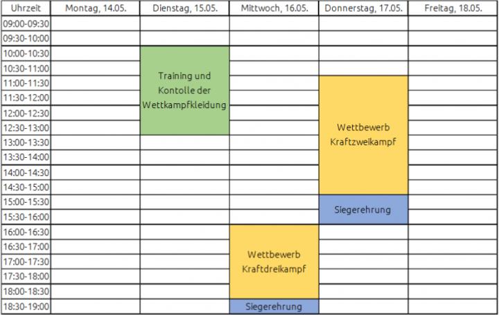 Zeitplan Kraftdreikampf Kiel 2018