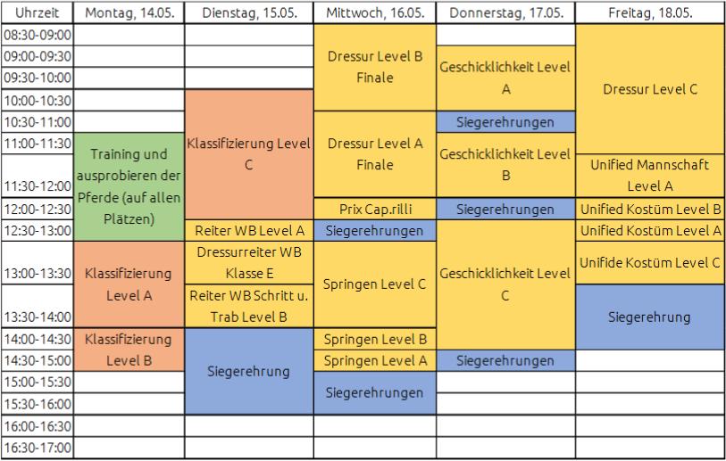 Zeitplan Reiten - Special Olympics Kiel 2018