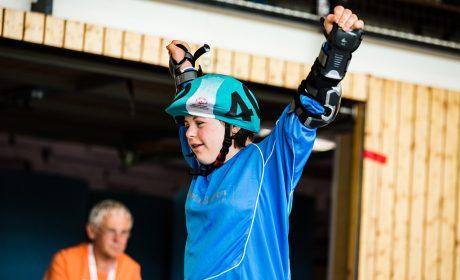 Rollerskating: Bente Mander, Schule Paracelsusstraße Hamburg, im Ziel. (Foto: SOD/Sarah Rauch)