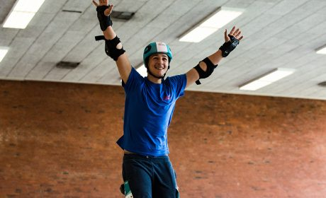 Rollerskating: Akram Hasroumi, Schule Weidemoor Hamburg, im Ziel (Foto: SOD/Sarah Rauch)