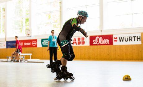 Rollerskating: Wolfgang Eiteneuer, Lebenshilfe e.V. Kreisvereinigung Mettmann, auf der 500m Strecke. (Foto: SOD/Sarah Rauch)